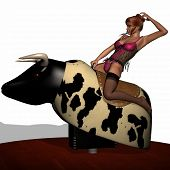 picture of bull-riding  - 3 D Render of Sexy Bull Riding - JPG