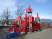 Red Colored Playground In A Park