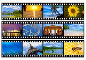 Travel photos or pictures film strip isolated on white