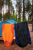 Drying sleeping-bags in a tourist camp