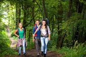 Active young people hiking in forest