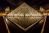 Glass Pyramid In Front Of The Louvre Museum, Paris, France