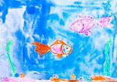 fish in sea watercolor