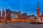 Historic Center of Frankfurt at dusk