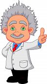 picture of professor  - Vector illustration of Cartoon professor thinking isolated on white background - JPG