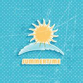 Grunge style summer background with sun icon