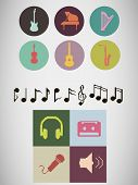 stock photo of pixel  - Set of pixel music instruments icons and other different pixel music icons - JPG