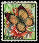 Republic Of Burundi - Circa 1968: A Stamp Printed In Burundi Shows A Butterfly Teracolus Annae, Circ