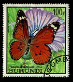 Burundi - Circa 1968: A Stamp Printed In Burundi, Shows Butterfly Danais Chrysippus, Series, Circa 1