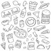 picture of frozen tv dinner  - Cute junk food doodles - JPG