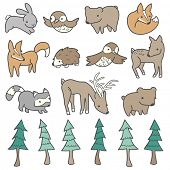 Forest animals and trees illustrated in a cute hand-drawn style.