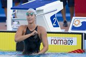 Jul 28 2009; Rome Italy; Federica Pellegrini (ITA) celebrates winning  the womens 200m freestyle semi final in a new worlld record time of 1.53.67, at the 13th Fina World Aquatics Championships