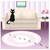 stock photo of misbehaving  - Illustration of black naughty cat who traces his soiled carpet in living room - JPG
