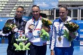 Jul 23 2009; Rome Italy; Gemma Mengual (ESP) left Natalia Ischenko (RUS) middle and Beatrice Adelizzi (ITA)  at the 13th Fina World Aquatics Championships at the The Foro Italico Swimming Complex.