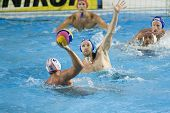 Jul 30 2009; Rome Italy; Spain team player Guillermo Molina attempts a shot as USA team player Jeffrey Powers defends during the semi final match between USA and Spain,