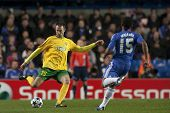 LONDON ENGLAND 23-11-2010. MSK Zilina's defender Jozef Pia�?�?�?�ek and Chelsea's midfielder F