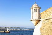 stock photo of lagos  - Medieval tower from Fortaleza da Ponta da Bandeira at Lagos - JPG