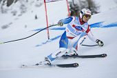 VAL GARDENA, ITALY 18 December 2009. Patrick Kueng SUI)  competing in the Audi FIS Alpine Skiing Wor