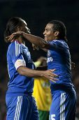 LONDON ENGLAND 23-11-2010. Chelsea's forward Didier Drogba  and Chelsea's midfielder Florent Malouda