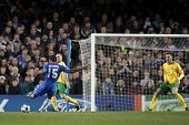 LONDON ENGLAND 23-11-2010. Chelsea's midfielder Florent Malouda takes a shot at goal during the UEFA