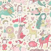 Funny seamless pattern with zodiac sign. Cute children with animals. Capricorn, pisces, aquarius, virgo, cancer, taurus, leo, libra, sagittarius.
