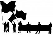 Vector drawing of a group of people with flags. Property release is attached to the file