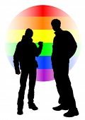 Vector drawing of a gay rainbow sign. Property release is attached to the file