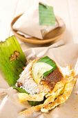 Nasi lemak (Malaysia National Dish) Asian food.