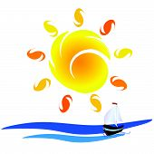 Sun And Boat On The Sea Vector Illustration