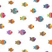 Fish Shoal Bright Cartoon Seamless Pattern