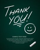 Thank you message on blackboard hand draw vector illustration