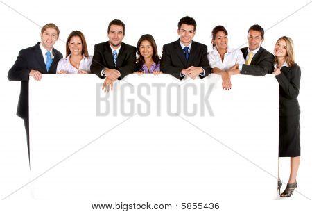 Постер, плакат: Бизнес группы с баннером, холст на подрамнике