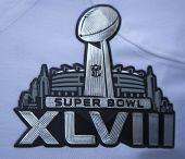 Super Bowl XLVIII logo on Seattle Seahawks team uniform presented during Super Bowl XLVIII week
