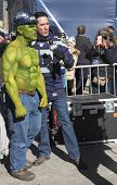 Unidentified Seattle Seahawks fan during interview on Broadway during Super Bowl XLVIII week