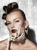 Surrealistic fashion portrait of woman
