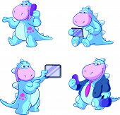 cute blue dino business set
