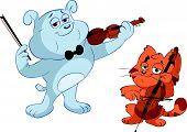 cat and dog playing violin and cello