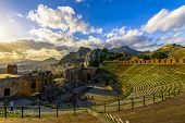 Greek Theatre In Taormina At Sunset