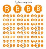stock photo of greed  - Bitcoin and other cryptocurrency vector symbols web icons  templates - JPG