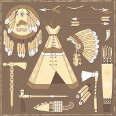 Native American Hunting Design Elements - Illustration