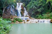 picture of three tier  - The Kuang Si Falls sometimes spelled Kuang Xi is a three tier waterfall about 29 kilometres  - JPG