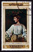 Postage Stamp Yemen 1968 Portrait Of Hendrickje Stoffels, By Rem