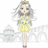 Vector Beautiful Fashion Girl Princess