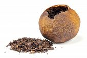Chinese Black Tea Pu-erh Packed In Dried Mandarin Isolated