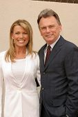 HOLLYWOOD - APRIL 20: Pat Sajak and Vanna White at the Ceremony honoring Vanna White with a star on