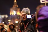 Kiev (kyiv), Ukraine - December 4, 2013: Unidentified Journalist Makes Report With Protesters. Hundr