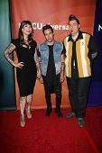 Hannah Aitchison, Pete Wentz and Joe Capobianco at the 2013 NBC Universal Summer Press Day , Langham Huntington Hotel, Pasadena, CA 04-22-13