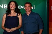 Joanne Kellyand Eddie McClintock at the 2013 NBC Universal Summer Press Day , Langham Huntington Hotel, Pasadena, CA 04-22-13
