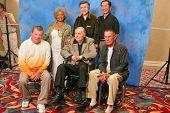Nichelle Nichols, Walter Koenig, George Takei, William Shatner, James Doohan, Leonard Nimoy  at the James Doohan Farewell Star Trek Tribute at the Renaissance Hollywood Hotel,Hollywood, CA. 08-29-04