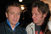 Ewan McGregor and Charley Boorman at the FM Talk Brew Ha Ha comedy show in Agoura Hills, CA 06-12-04